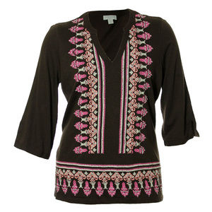 Multi Color 3/4 Sleeve Bead Embellished Blouse
